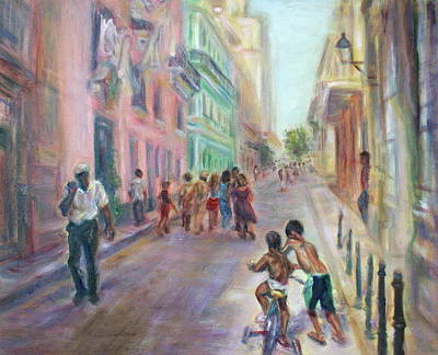 Old Havana Street Life - Sale - Large Scenic Cityscape Painting Print by Quin Sweetman