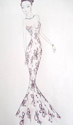 Evening Gown Mixed Media - Old Hollywood  by Christine Corretti