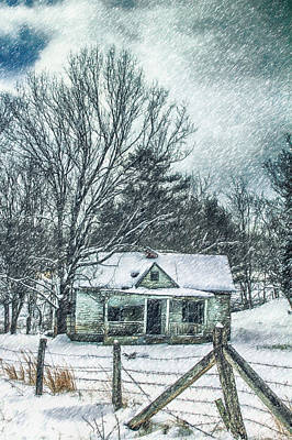 Tree Photograph - Old Homestead In A Blizzard by John Haldane