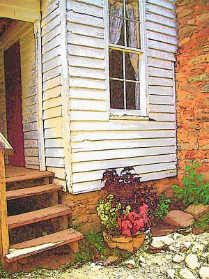 Old House Welcome Flowers Print by Rebecca Korpita