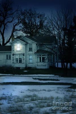 Old House Window Lit At Night Print by Jill Battaglia