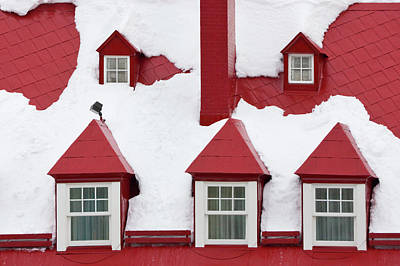 Quebec Houses Photograph - Old Houses, Red Roof And Window Covered by Keren Su