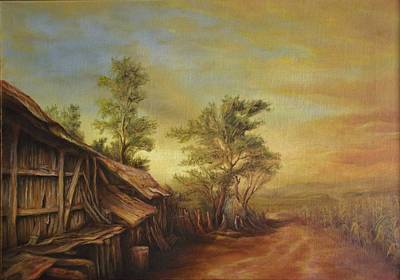 Tablou Painting - Old Hut From Turceni by Dan Scurtu