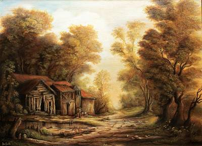 Tablou Painting - Old Huts In The Forest by Dan Scurtu