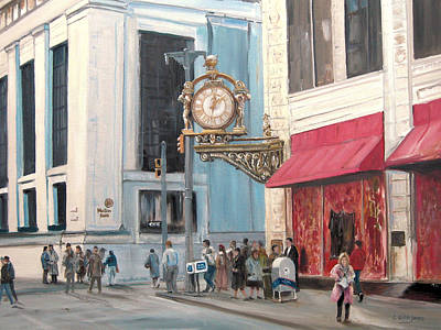 Downtown Pittsburgh Painting - Old Kaufmann's Clock by C Keith Jones