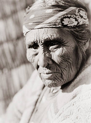 Worried Photograph - Old Klamath Woman Circa 1923 by Aged Pixel