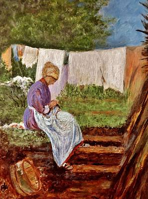 Old Woman Darning After Nicolae Grigorescu-romanian Painter Original by Cristina Mihailescu