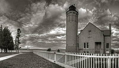 Mackinac Photograph - Old Mackinac Lighthouse In Black And White by Twenty Two North Photography