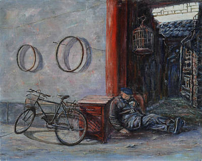 Old Man And His Bike Print by Xueling Zou