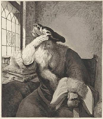 Hourglass Drawing - Old Man At The Window, Diederik Jan Singendonck by Diederik Jan Singendonck And Rembrandt Harmensz. Van Rijn