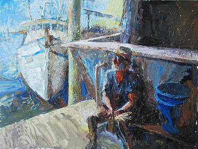 Old Man Fishing Painting - Old Man By The Sea by Daryl Urig