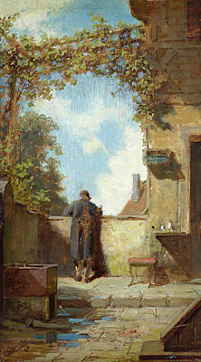 Vines Painting - Old Man On The Terrace by Carl Spitzweg