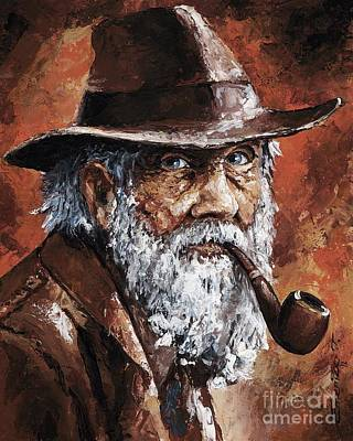 Old Hat Painting - Old Man With Pipe by Emerico Imre Toth