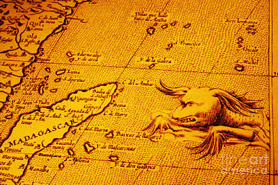 Madagascar Photograph - Old Map Of Africa Madagascar With Sea Monster by Colin and Linda McKie