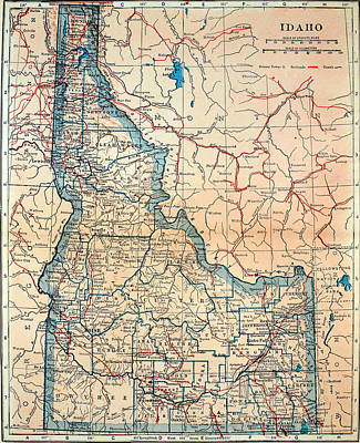 Old Map Of Idaho 1921 Print by Mountain Dreams