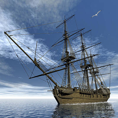 Old Meduse Frigate Of The French Navy Print by Elena Duvernay
