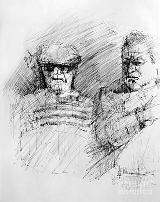 Contemplating Drawing - Old Men by Michael Greco