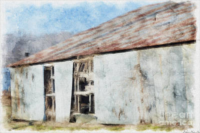Old Metel Shed Painted Effect Print by Debbie Portwood