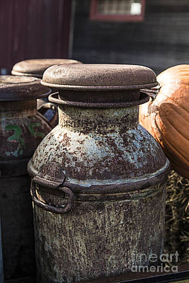 Country Scenes Photograph - Old Milk Cans by Edward Fielding