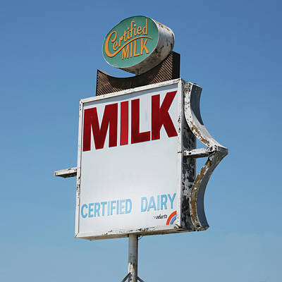 Message Art Photograph - Old Milk Sign by Art Block Collections