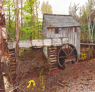 Historic Site Drawing - Old Mill At Cades Cove by Cloud Farrow