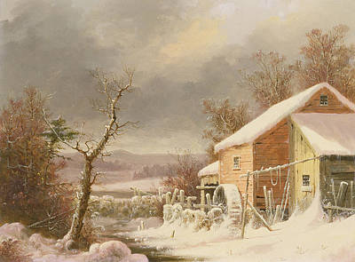 Old Mills Painting - Old Mill In Winter by George Henry Durrie