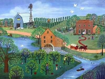 Wagon Painting - Old Mill Stream by Linda Mears
