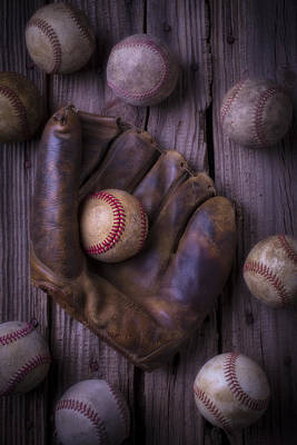 Old Mitt And Worn Baseballs Print by Garry Gay