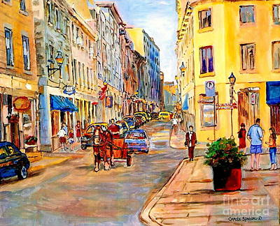 Montreal Streets Painting - Old Montreal Paintings Youville Square Rue De Commune Vieux Port Montreal Street Scene  by Carole Spandau