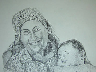 New Baby Art Drawing - Old Mother With New Baby by Esther Newman-Cohen