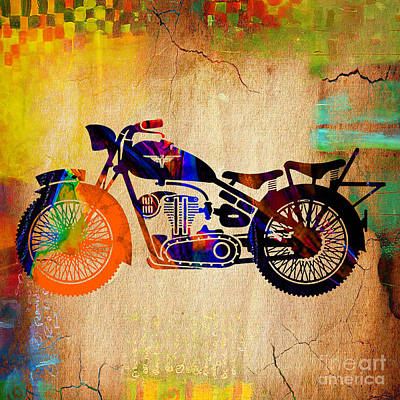 Vintage Mixed Media - Old Motorbike by Marvin Blaine