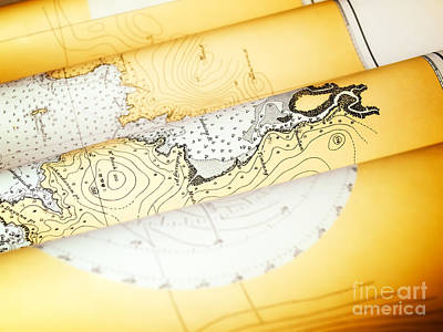 Nautical Chart Photograph - Old Nautical Chart by Sinisa Botas