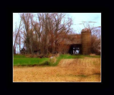 Old Open Barn With Silo  And Farm Field Print by Rosemarie E Seppala