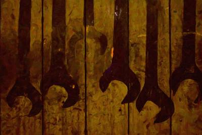 Old Painted Wrenches Original by Toppart Sweden