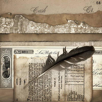 Old Papers And A Feather Print by Carol Leigh