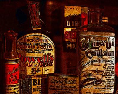 Old Pharmacy Bottles - 20130118 V2b Print by Wingsdomain Art and Photography