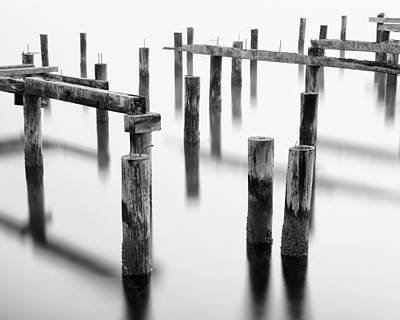 Old Pilings - Cummings Park - Puget Sound - Tacoma - Washington - January 2014 Print by Steve G Bisig