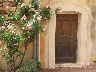 Old Provence Door And Rose Tree Print by Christiane Schulze Art And Photography