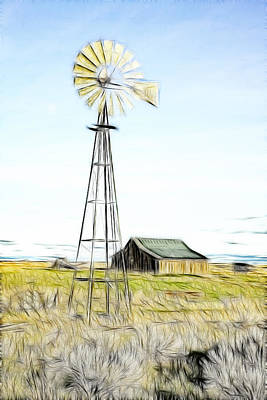 Old Ranch Windmill Print by Steve McKinzie