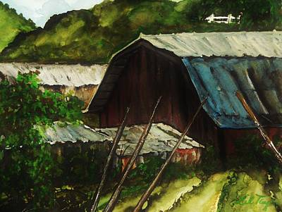 Old Red Barn Print by Lil Taylor