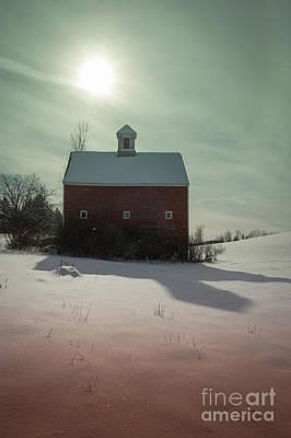 Old Red Barn Long Shadow Print by Edward Fielding