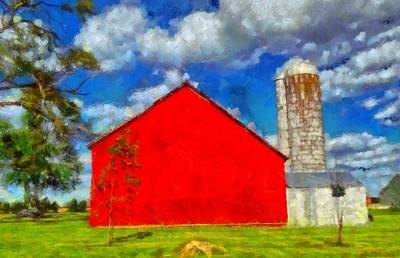 Corn Painting - Old Red Barn Summer Day by Dan Sproul