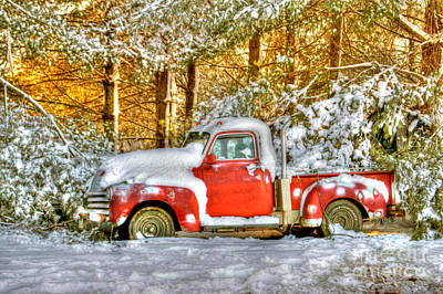 Snow-covered Landscape Photograph - Old Red by Benanne Stiens