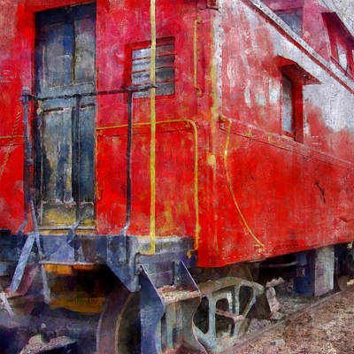 Caboose Digital Art - Old Red Caboose by Michelle Calkins