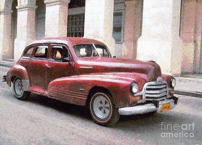 Road Rod Painting - Old Red Car In Cuba by Odon Czintos