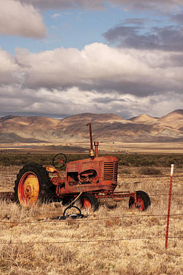 Old Red Tractor Print by Art Block Collections
