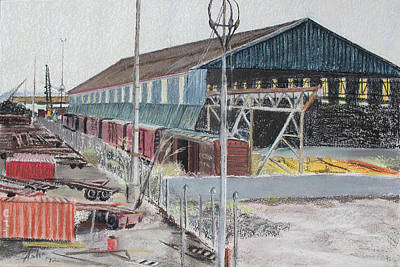 Old Resting Train And Schnitzer Steel Building Print by Asha Carolyn Young