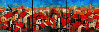 River View Painting - Old Roofs Of Lyon by Mona Edulesco