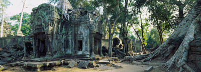 Of Lichen Photograph - Old Ruins Of A Building, Angkor Wat by Panoramic Images