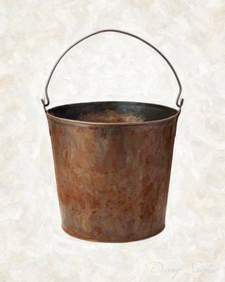 Old Objects Painting - Old Rusty Bucket by Danny Smythe